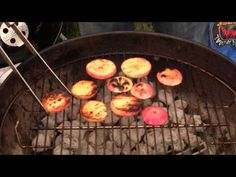 Grilled fruit is one of greatest desert recipes and when done on a charcoal grill it is a barbecue masterpiece. The crazy chefs at BBQ Dragon show you full t. I Grill, Cooking On The Grill, Fun Cooking, Fruit Recipes, Desert Recipes, Summer Recipes, Grilled Fruit, Grilled Peaches, Grilling Tips