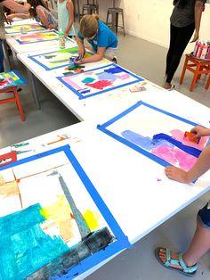 Abstract Scraper Painting - Kids Art Classes, Camps, Parties and Events - Small Hands Big Art Abstract Art For Kids, Painting For Kids, Colorful Abstract Art, Abstract Portrait Painting, Portrait Paintings, Acrylic Paintings, Art Paintings, Middle School Art, Art School
