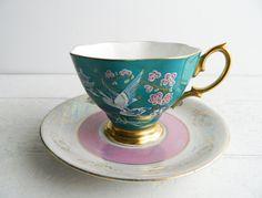 Vintage Teal Pink Mismatched Tea Cup & Saucer Royal by UpHome