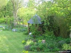 View down the garden towards the love bower.