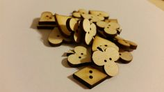 Unfinished Wooden Poker Playing Card Symbols Laser Cut Sewing Buttons!