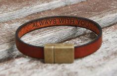 Hidden Message Bracelet, Personalized Leather Bracelet, Secret Message Bracelet, Custom Quote Bracelet, Couples Gift, Fiance Boyfriend Gift