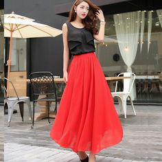 Chiffon Bust Pleated Skirt - 17 Colors