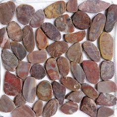 Islander Flooring Random Sized Sliced Gloss Natural Stone Pebble Mosaic Tile in Red Sapphire