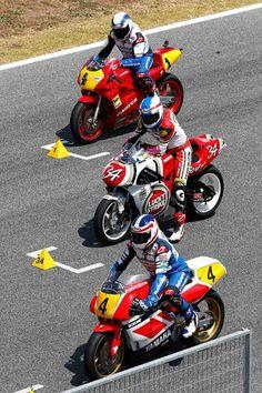 GP 500 Kevin Schwantz #34  Suzuki, Freddie Spencer, Yamaha YZR & Wayne Gardner, Cagiva.