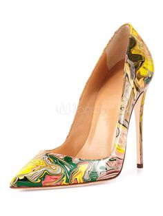 44d242c5c13 Women High Heels Pointed Toe Artwork Printed Stiletto Heel Slip On Pumps  Yellow Dress Shoes