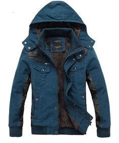 Dark Blue Cotton Blend Men Removable Hat Korean Thick Warm Coat