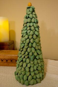 DIY Creativity: Foam Cone Christmas Trees with Pistachios shells
