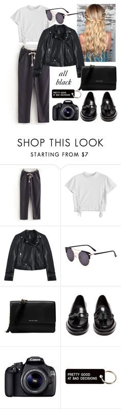 """""""back in black"""" by margaridaasg ❤ liked on Polyvore featuring Michael Kors, Yves Saint Laurent, Eos and Various Projects"""