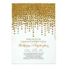 "faux gold glitter foil confetti engagement party 5"" x 7"" invitation card"