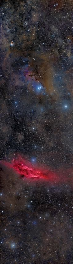 Cosmic clouds of gas and dust drift across this magnificent panorama, spanning some 17 degrees near the southern boundary of the heroic constellation Perseus.
