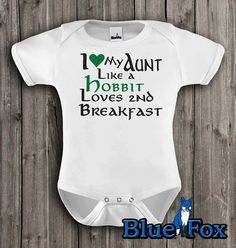 Lotr,Funny baby clothing, I love my aunt like a hobbit loves 2nd breakfast, baby one piece, geekery baby, by BlueFoxApparel *194