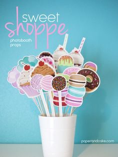 Paper and Cake | new: sweet shoppe photo booth props | http://www.paperandcake.com