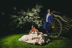 Cooling Castle Barn night time wedding portrait in Rochester © Miki Photography