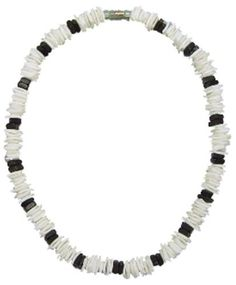 """Native Treasure - White Chips Puka Shell Necklace with Black Chips Accents - 18 Inch by Native Treasure. $11.94. This Native Treasure Authentic Tropical Jewelry Puka Shell Necklace is Beautifully Hand-crafted in our Tropical Jewelry Shop by our own Native Island Artisans using hand-sorted  Super Class 'A' Quality Shells.  It is our standard 18"""" length. It is ideal for Men, Women, and Children.   .....Genuine Shells Indigenous to the Powder White Beaches of..."""