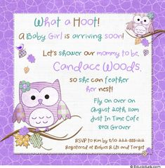 lavender owl baby shower invitations