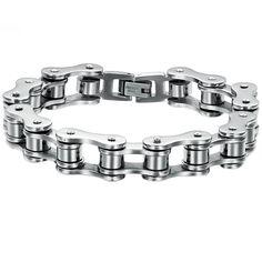 Robusta pulsera metalizada de acero inoxidable con original forma de cadena de…