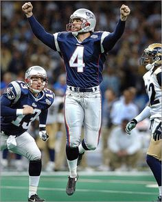 Buy photographs by Jim Davis Patriots placekicker Adam Vinatieri leaps for joy with holder Ken Walter as they celebrate the Super Bowl winning field goal that beat the St. Louis Rams in American Football, Nfl Football, Football Helmets, College Football, New England Patriots Players, Patriots Fans, Adam Vinatieri, Patriots History, Jim Davis