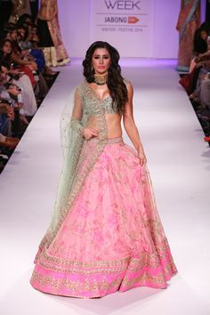 Nargis Fakhri In A Pretty Anushree Reddy Pink Floral #Lehenga & Turquoise #Blouse At Lakme Fashion Week 2014.