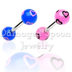 Damaged Spoon Jewelry - Tongue Ring Barbell with Printed Multi Heart Balls, $3.99 (http://www.damagedspoon.com/best-sellers/tongue-ring-barbell-with-printed-multi-heart-balls/)