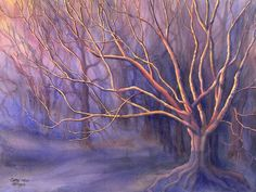 Mystical Tree art watercolor painting print by by CathyHillegas