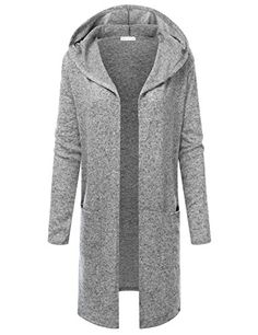 JJ Perfection Women's Long Sleeve Open Front Hooded Flowy...