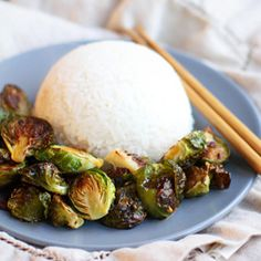 Roasted Brussels Sprouts with Sriracha Honey drizzle.