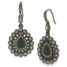Illusions of India Pear Bottom Drop Pierced Earrings