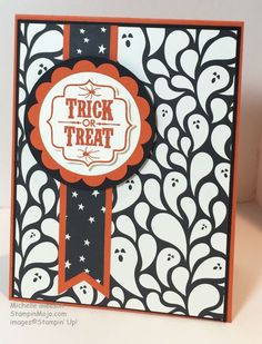 Ghost background paper with Trick or Treat sentiment Homemade Halloween, Up Halloween, Halloween Scrapbook, Fall Cards, Holiday Cards, Halloween Paper Crafts, Handmade Halloween Cards, Handmade Crafts, Handmade Rugs