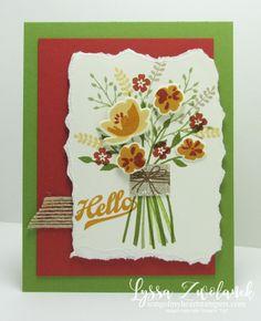 Jars of Love Boquet Flower handtied Stampin Up card cardmaking