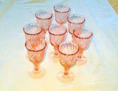 8 Vtg ROSALINE Pink Swirl Arcoroc Small Wine/Sherry Stemmed Glasses NICE