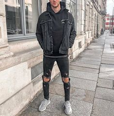 All black outfit, brown outfit, fashion fashion, daily fashion, urban fashi Mens Urban Streetwear, Streetwear Fashion, Designer Streetwear, Grunge Outfits, Jean Outfits, Men's Outfits, Converse Outfits, Cowboy Outfits, Winter Outfits