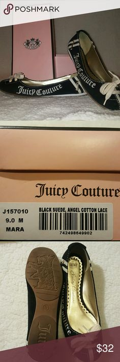 Juicy Couture Mara Flats (size 9, Black) Black Juicy Couture Mara Flats. These flats are exactly what you need to give a little spunk to an everyday white tee and jeans outfit. The flats are like new, with their original box. There is no imprint in the sole of the shoe, and no scuffs, scratches or discoloration on the outside.   All of my shoes are kept in individual boxes or bags.  All items come from a smoke and pet free home. Juicy Couture Shoes Flats & Loafers