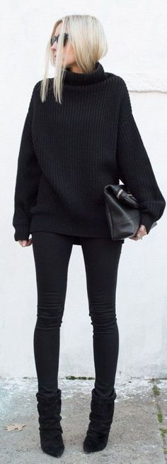 Black winter outfit #black #winter
