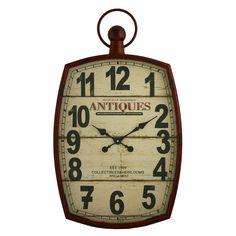 67.95-Jonathan Wall Clock / BRICK RED / DESTRESSED /  19.5W X 3D X 33.5HT