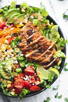 Easy fiesta lime chicken salad with chipotle dressing is perfect for healthy dinners on busy weeknights and summer grilling!