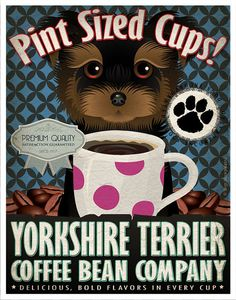 Yorkie+Coffee+Bean+Company+Original+Art+Print++by+DogsIncorporated,+
