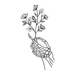 Skeleton Hand Holding Wildflowers Design Art Print by La Petite Mesange - X-Small Skeleton Hand Tattoo, Skeleton Flower, Skeleton Drawings, Skull Hand, Skeleton Art, Simple Skeleton Drawing, Hand Holding Tattoo, Cute Skeleton, Tattoo Sketches