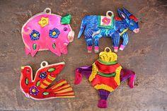 Mexican Ornaments Set of 4 Folk Art Piggybank by RanchoAlpino, $8.00