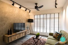 two strips of black track lighting on either side of a black ceiling fan in narrow living room Track Lights Living Room, Track Lighting Bedroom, Living Room Lighting Design, Living Room Designs, Narrow Living Room, Condo Living Room, Living Room Interior, Industrial Bedroom Design, Industrial Style