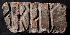 Christianity was established as the official religion in Norway soon after the year 1000. Runic inscriptions with a Christian content appear from an early date. Most runestones from the late Viking Age are in fact Christian monuments. Here, a brick from a church in Oslo from about 1300 with the runes ariak. The brick was part of a larger frieze containing the angel Gabriel's greeting to the Virgin Mary from the Latin prayer: [Ave M]aria g[ratia plena], 'Hail Mary, full of grace'.