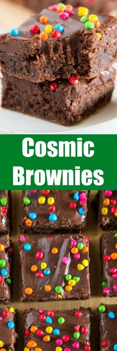 Cosmic Brownies - a homemade version of the childhood favorite. Rich and fudgy brownies topped with a chocolate fudge frosting and rainbow sprinkles.
