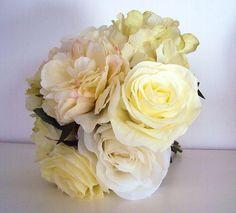 Bouquet ROSE HORTENSIA PIVOINE en satin 30cm fleurs artificielles LUXE
