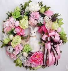 Spring Wreath Easter Wreath Easter Faux Chocolate by WreathbyHH, $109.95