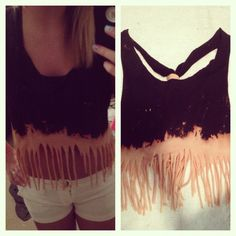 Hanes t-shirt dipped in bleach, cut into a tank, and fringed.