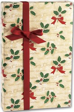 Holiday Gift Wrap - Scripted Holly Gift Wrap, 24' x 417' (1 roll) - BOWS-X-4998H *** More info could be found at the image url.