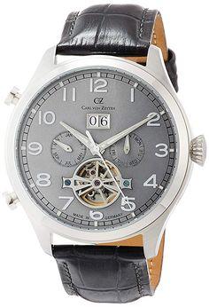 Carl von Zeyten Herren Analog Automatik Uhr mit Leder Armband CVZ0003SGY - 148.50 - 4.0 von 5 Sternen - Herren Uhren 2019 Skeleton, Accessories, Black, Euro, Watch, Fashion, La Mode, Watch Brands, Stars