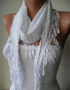 Perforated Fabric  White Cotton Scarf with White by SwedishShop, $15.90