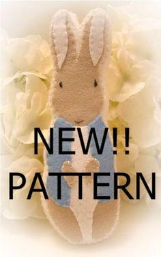 felt ornaments patterns | pattern felt easter peter rabbit cookie ornament PATTERN ONLY