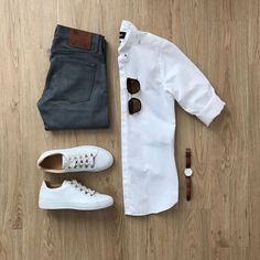 Men Casual Shirt Outfit 🖤 Very Attractive Casual Outfit Grid, Outfits In Weiss, Neue Outfits, Casual Outfits, Fashion Outfits, Casual Attire, Casual Chic, Work Attire, Work Outfits, Fashion Clothes